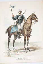 ARMEE ITALIENNE 13e REGIMENT DE LANCIERS GRAVURE COULEURS MARIUS ROY 1890-R903