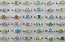 Job Lots 50pcs Cat Eye Stone Sliver Plated Colorful Lady's rings