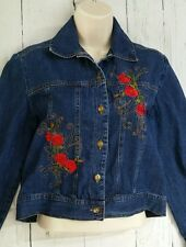 Studio Ease Petite Denim Casual Jacket Roses Embroidered 6P Blue