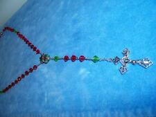 """VINTAGE CATHOLIC RED GREEN CHRISTMAS 23"""" ROSARY BEADS GLASS RELIGIOUS RELIGION"""