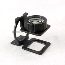 20X Magnifier Glass Metal Folding Loupe Handsfree Scale Coins Stamps Jewelers