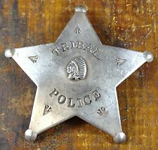 Tribal Police 5 Point Star Shaped Silver Plate Pinback Old West Style Badge
