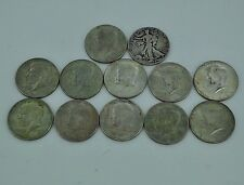 Mixed Lot of Kennedy & Walking Liberty Half Dollar Silver Coins Lot of 12 Coins