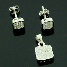 Sterling Silver Cubic Zirconia Micro Pave Set Earrings And Pendant+Chain