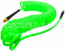 "1/4"" x 30 foot Green Polyurethane Re Coil Air Hose Male Swivel Fittings Recoil"