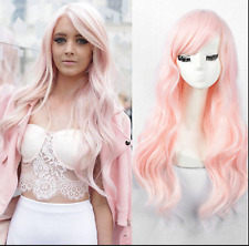 Female Wavy no Lace Wig fashion long curly light pink hair full wigs A11