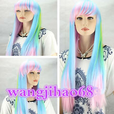 Sexy Lady girl long wig pink blue green mixed Straight rainbow Cosplay wigs