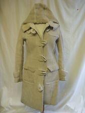 Ladies Coat - TopShop, size 10, beige, suede, hooded, duffle, warm, used - 0644