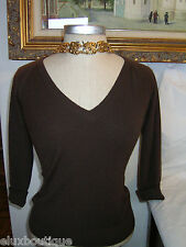 EMILIO PUCCI Firenze Italy CASHMERE SWEATER Knit Top Brown Turnback Cuff 40 6 4