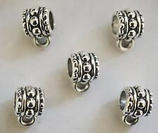 10 Metal Antique Silver Barrel Dangle Bails - 10mm -  For Charms