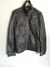 Superdry Ryan Jacket Leather Dull Army Vintage Medium MS5IY028F2 NWT/$475