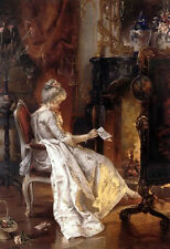 Hand painted Oil painting young noble lady in dress reading letter by fireplace