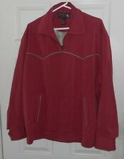 New Nat Nast-50's Western Style Red + Silver Yokes-Pic Stitch Rockabilly Silk L