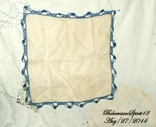 ANTIQUE VINTAGE OFF WHITE  BLUE HAND CROCHET TRIMMING FINE LINENS HANDKERCHIEF