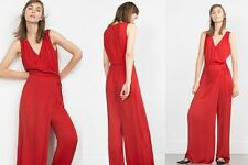 ZARA RED WIDE LEG CROSSOVER JUMPSUIT SIZE 12 / L BNWT