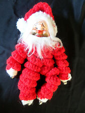 Yarn Doll Crocheted Vintage Hobo Clown Toy Santa Finished Project Vintage