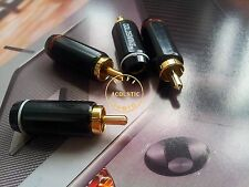 4x Hifi audio Gold Plated RCA Connector Plug 6mm cable