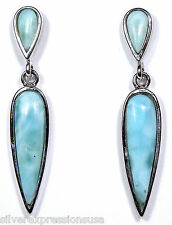 100% Natural AAA Dominican Larimar 925 Sterling Silver Dangle Post Earrings