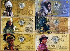 POLYMER SET, El Club De La Moneda, 5;10;20;50;100;200 2016   Native Americans