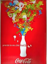 Original Vintage French Coca-Cola Advertisement Poster on Linen