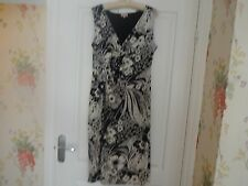 PHASE EIGHT DRESS SIZE 14 BLACK/IVORY FLORAL