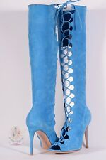 Gianvito Rossi Suede Lace-up Open Toe Knee Boots Sz 8 US / 38 1/2 EU $2495 NWOB