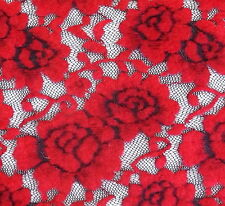 Red Rose Soft Furry Felt Black Lace Stretch Fabric BTY