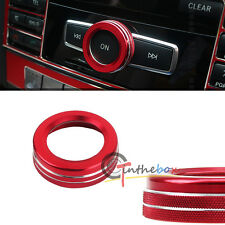 Red Car Volume Control Knob Decorative Circle Cover For Benz CLA ML GL CLS GLE