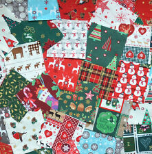 "100 X 4"" CHRISTMAS FABRIC PATCHWORK QUILTING SQUARES CRAFT 100% COTTON FREEPOST"