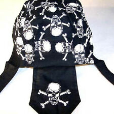 2 SKULL X BONE BANDANNA CAPS #204 biker hat pirate cap bulk lot cross bones dora