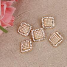 5Pcs Bling Crystal Rhinestone Pearls Gold Shank Buttons Dress Sewing Crafts