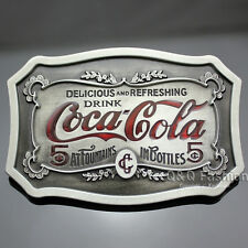Vintage Silver Classic Native DRINK Cola Coke Carved Words 5 Cents Belt Buckle