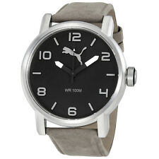 Puma Alternative Round Grey Dial Grey Leather Mens Watch PU104141005U