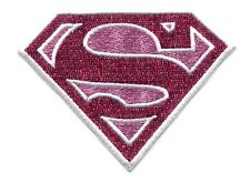 SUPERGIRL pink s glitter EMBROIDERED PATCH **FREE SHIPPING** -c pdc26 superman