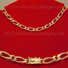 """NEW WOMANS HOT 24K HEAVY GOLD GP FAT 8mm FIGARO 16"""" CHOKER NECKLACE #532"""