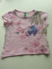 "Baby Girl's BENNETTON (UCB) Pink ""Parrots"" Cap Sleeved Top 12 months"
