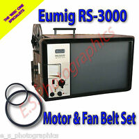 EUMIG RS-3000 TV Type 8mm Cine Projector Motor Drive Belt & Fan Belt (Set of 2)