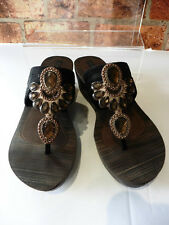 GRENDHA BLACK / BROWN EMBELLISHED WEDGE SANDALS SIZE 38 UK 5 IMMACULATE  MAY8/Z