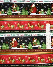 Flannel Fabric - Hello Snow Christmas Snowman Scene Stripe - Henry Glass 18""