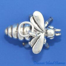 LARGE HONEY BUMBLE BEE 3D .925 Sterling Silver Charm