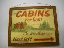 Cabins for Rent on the Lake Next Left Wooden Wall Art Sign Camping Decor