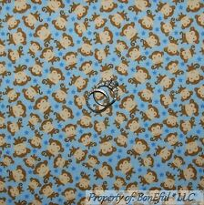 BonEful Fabric FQ Flannel Cotton Quilt Blue Brown Baby MONKEY Star Boy Calico Sm