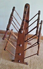 Vintage 3 Tier Colonial Wood Magazine Newspaper Holder Rack Wood Organizer