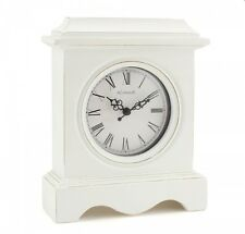 White Shabby Chic White Traditional Style Mantle Clock