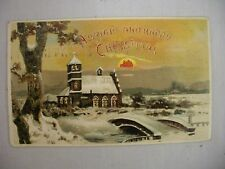 VINTAGE HOLD TO LIGHT CHRISTMAS POSTCARD BRIDGE OVER STREAM TO CHURCH 1907