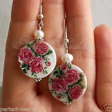 925 Silver Hook White & Red Roses Mother Of Pearl Painted Shell PEARL Earrings