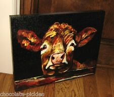 COW Canvas Wall PICTURE*Farmhouse Primitive/French Country Farmhouse Barn Decor