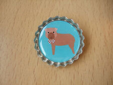 Handmade Dogue de Bordeaux Brooch Bottle Cap Badge Dog Puppy Cartoon Turquoise