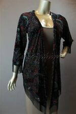 New MINK PINK Black Red Blue Paisley Velvet Burnout Stretchy Cape Cardigan Top S