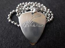 Rihanna Signature Hand carving Stainless Steel Guitar Pick Necklace